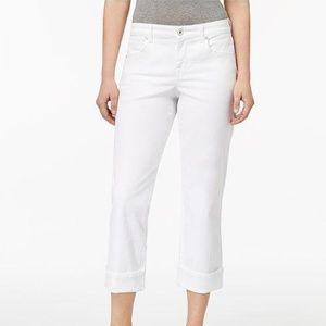 Style & Co. Petite White Curvy-fit Capri Jeans